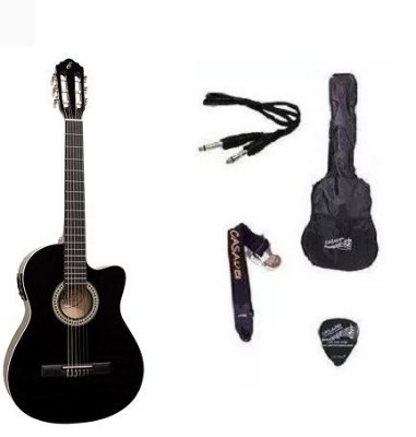 Kit Violão Start by Giannini NF14 Elétrico Flat Nylon com Afinador - BK
