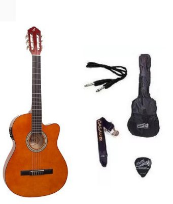 Kit Violão Start by Giannini NF14 Elétrico Flat Nylon com Afinador - Natural