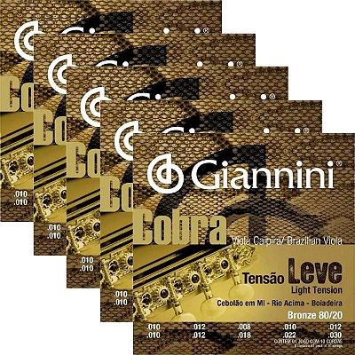 Kit 5 encordoamentos Giannini Cobra tensão leve cebolão em MI para viola