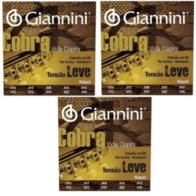 Kit 3 Encordoamentos Giannini Cobra Tensão Leve Cebolão Mi
