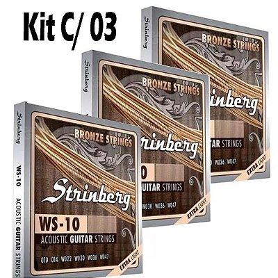 Kit C/ 3 Jogos De Cordas Violão 010 Aço Strinberg