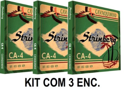 Kit com 3 Encordoamentos Strinberg para Cavaco