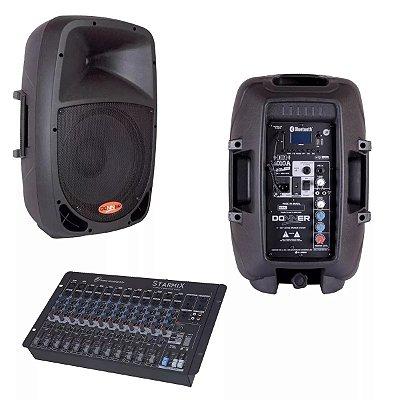 Kit Caixa Ativa Bluetooth DR10 + Passiva + Mesa Som 12 Canais + Cabos