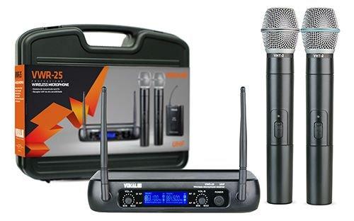 Microfone Vokal sem fio duplo UHF VWR25