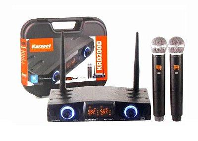 Microfone Karsect Sem Fio Mão Duplo UHF KRD200 DM