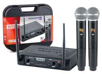 Microfone Vokal Sem Fio Mão Duplo UHF DVS100DM