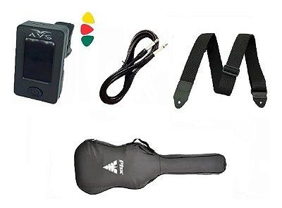 Kit Capa Guitarra/Viola Cinturada Afinador Clip Correia Cabo Palheta