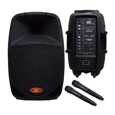 Caixa Ativa Amplificada Donner Dr12BAT Com compartimento para Bateria Interna + 2 Microfones sem fio