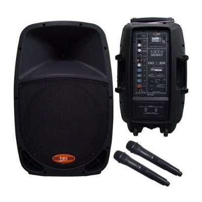Caixa Ativa Amplificada Donner Dr12BAT Bateria Interna + 2 Microfones sem fio