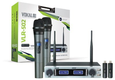 Microfone Sem Fio Vokal Duplo UHF Bateria Lithium VLR502