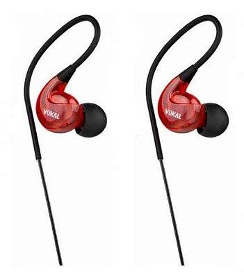Fone de Ouvido Vokal E40 In Ear Vermelha