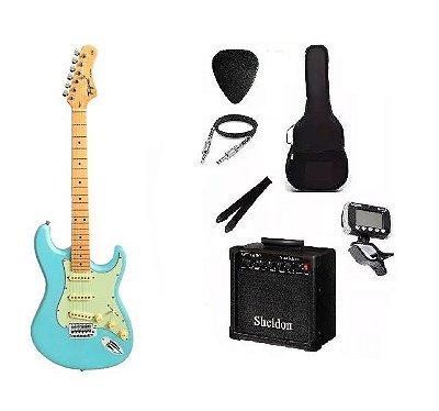 Kit Guitarra Tagima TG530 Strato Azul Pastel com Amplificador e Acessórios