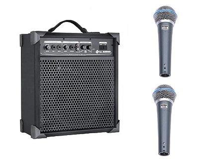 Caixa De Som Amplificada Multi Uso Lx60 + 2 Microfone C/ Fio