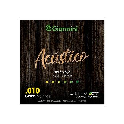 Encordoamento Giannini Acústico Violão Aço 010