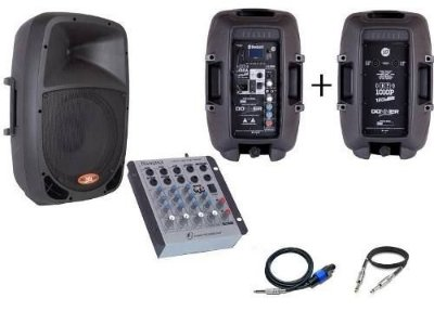 Kit Caixa Ativa Donner DR1010 + Passiva + Mesa de som Na402
