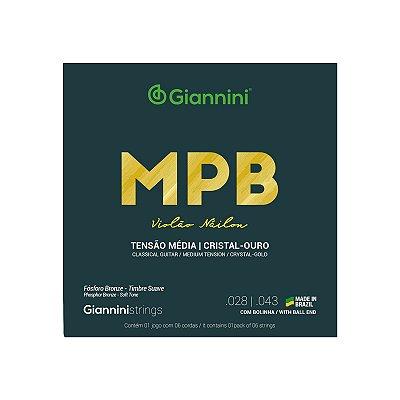 Encordoamento Para Violão Mpb Nylon Giannini Cristal Ouro