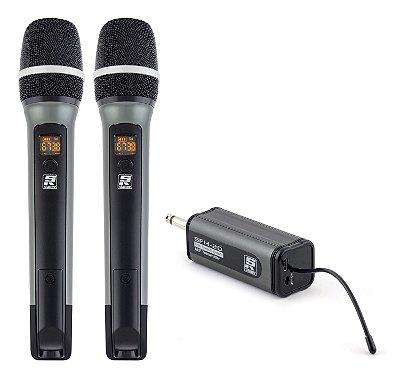 Microfone Sem Fio Mão Duplo Staner UHF SFH20