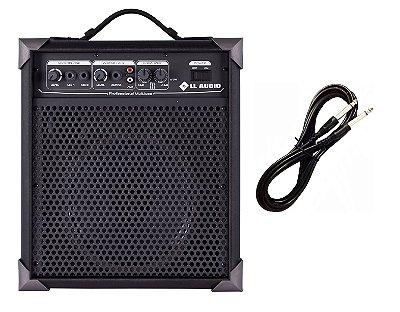 Caixa Amplificada Multiuso Guitarra/Microfone LX60 - 15w RMS CABO P10 BRINDE
