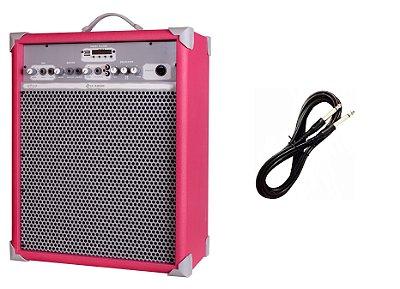 Caixa de Som Amplificada Multiuso UP!10 BLUETOOTH - Rosa CABO P10 BRINDE