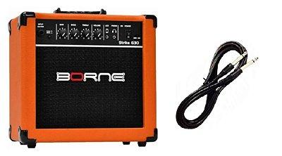 Amplificador Para Guitarra Borne G30 15w Rms Laranja Cabo P10 Brinde