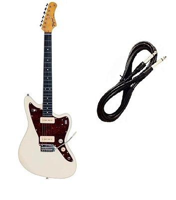 Guitarra Tagima Tw61 Woodstock Branco Vintage Cabo P10 Brinde