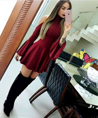 Vestido Jacquard Vinho