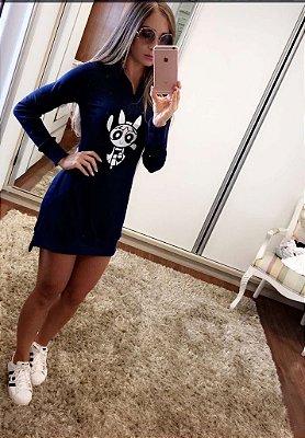 Vestido Malha Canelada com Capuz Super Poderosas Azul