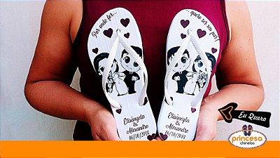 sandalias não é havaianas personalizadas para casamento - kit com 75 pares Linha Econômica