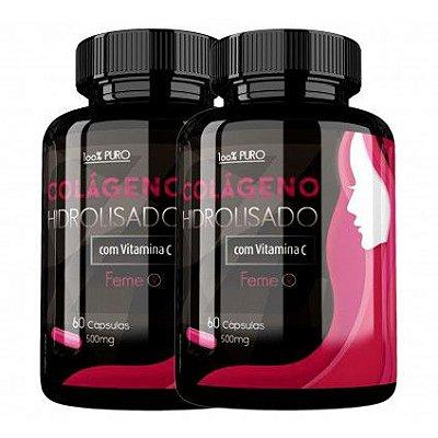 Colágeno Hidrolisado com Vitamina C - 60 Cáp 500 mg - KIT 2 frascos