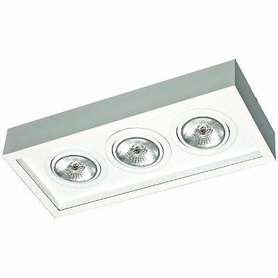 Plafon Aluminio p/ 3 Lâmpadas Dicróicas 50X21,5X9cm Femarte 1251