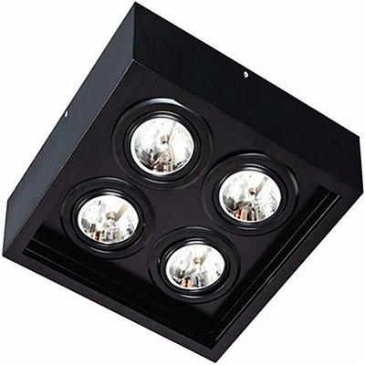 Plafon Aluminio p/ 4 Lâmpada Dicróica 35X35X9cm Femarte 1255