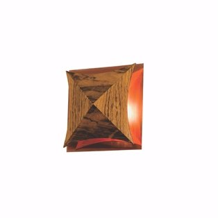 Arandela Diamante Corte Curvo Base Cobre 16X16X5cm Accord 4063CO