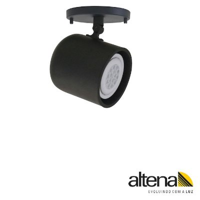 Spot Giga com canopla Preto Fosco - Altena Iluminação