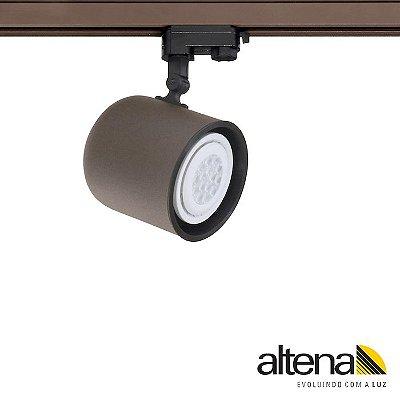 Spot Giga com Plug Altrac PRO para Trilho Eletrificado de três circuitos Marrom Café - Altena Iluminação