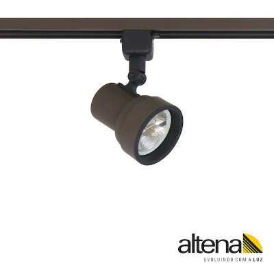 Spot Simi com Plug Altrac para Trilho Eletrificado Marrom Café - Altena ILuminação