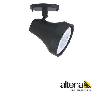 Spot Soft com canopla Preto Fosco - Altena Iluminação