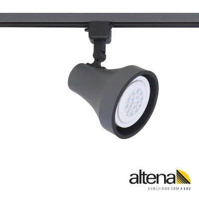 Spot Soft com Plug Altrac para Trilho Eletrificado Grafite Fosco - Altena Iluminação