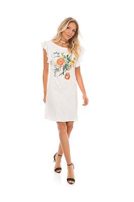 Vestido Em Crepe  Bordado Com Comprimento Clássico Branco