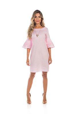 Vestido Em Tricoline Rosa Com Babado E Comprimento Clássico