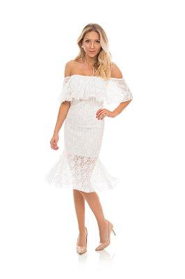 Vestido Em Renda Off White Ombro a Ombro Midi