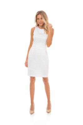 Vestido Em Sarja Com Elastano Branco Pregas Frontais