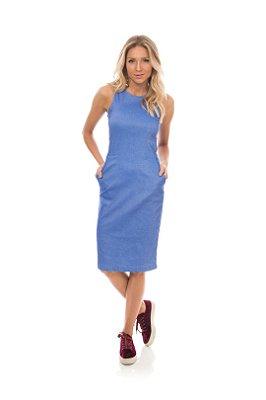 Vestido Azul Jeans Com Elastano E Comprimento Midi