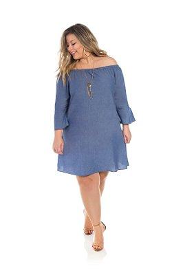 Vestido Visco Jeans Azul Ombro a Ombro Plus Size
