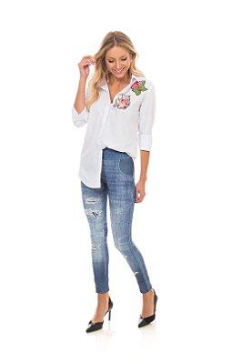 Calça Em Suplex Com Estampa Azul Jeans