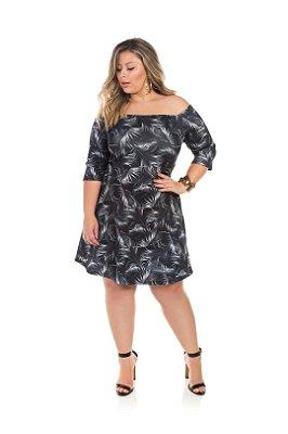 Vestido Evasê Em Neoprene Estampado Ombro a Ombro Plus Size