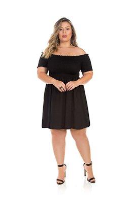 Vestido Preto E Comprimento Básico Plus Size