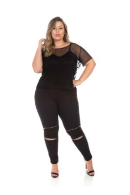 Blusa Em Tule Preta Plus Size