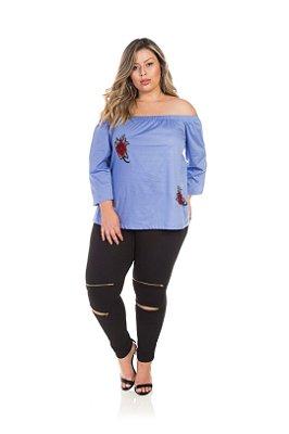 Blusa Em Tricoline Azul Ombro A Ombro Com Bordado Plus Size
