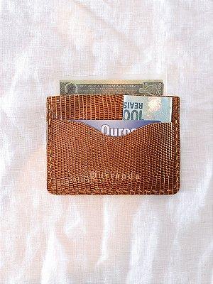 Porta Cartões CNH Lezard Caramelo