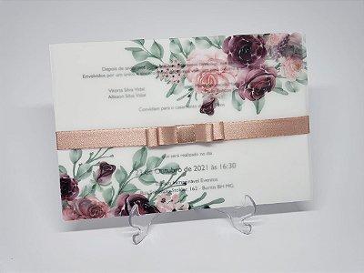 Convite casamento flores papel vegetal